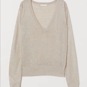 Ann Demeulemeester Beige V-neck Sweater M